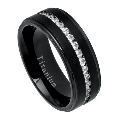 Men Women 8MM Comfort Fit Titanium Wedding Band Black Brushed Center Shiny Edge CZ Eternity Ring (Size 7 to 15)