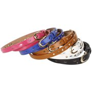 BMC 5pc Mix Color Metal Accents Faux Leather Womens Fashion Skinny Belt Set