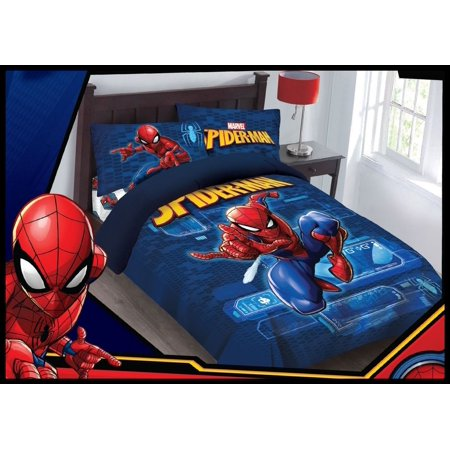 Marvel 4pc SPIDERMAN Spider Tech Bedding Set, Licensed Full Comforter W/Fitted Sheet And Pillowcases