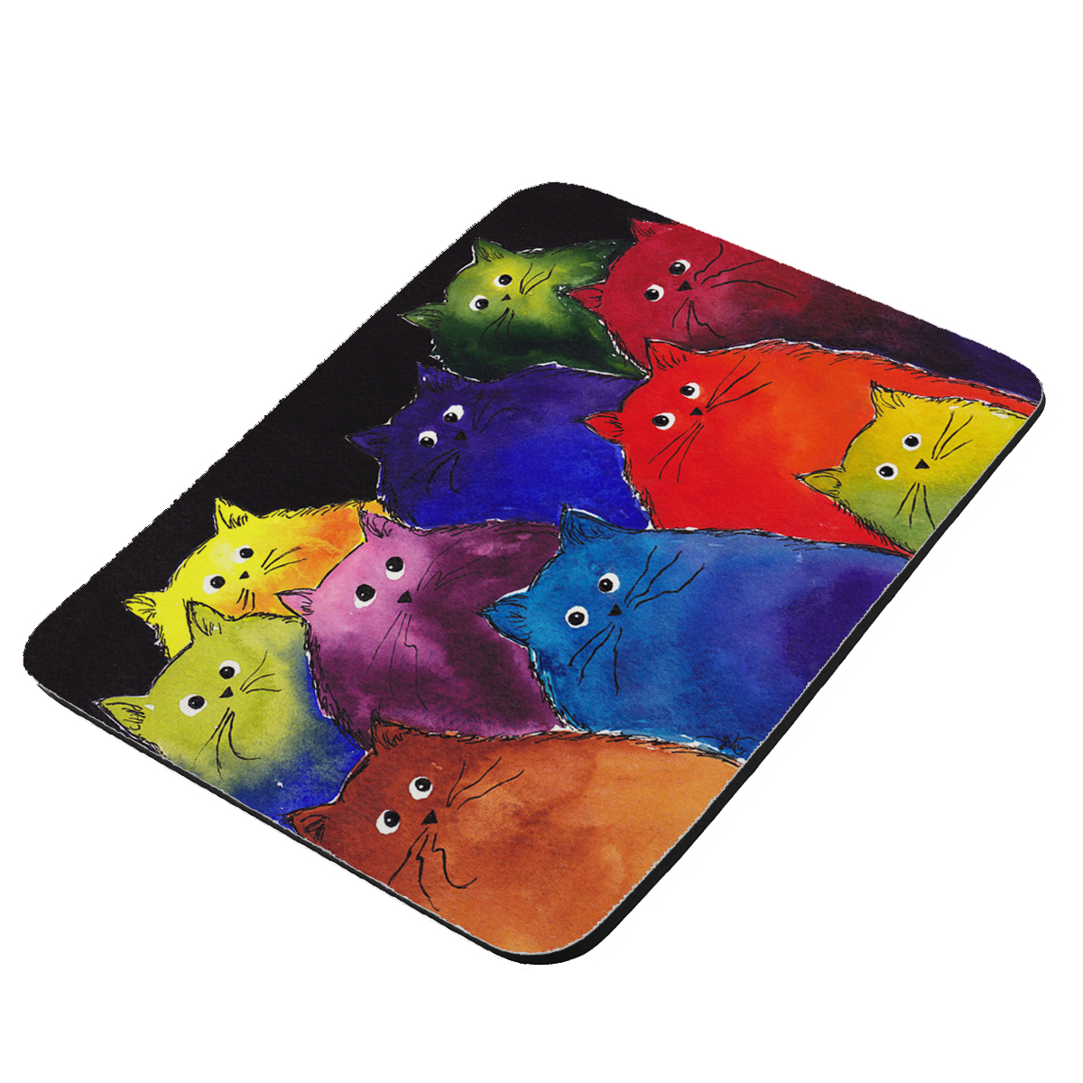 Very Colorful Two-Toned Silly Maine Coon Kitties Black Background  Art by Denise Every - KuzmarK Mousepad / Hot Pad / Trivet