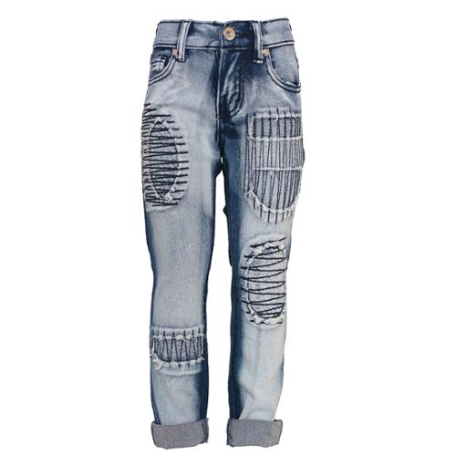 Little Girls Blue Two Tone Embroidered Detail Turn Up Cuff Denim Pants 4