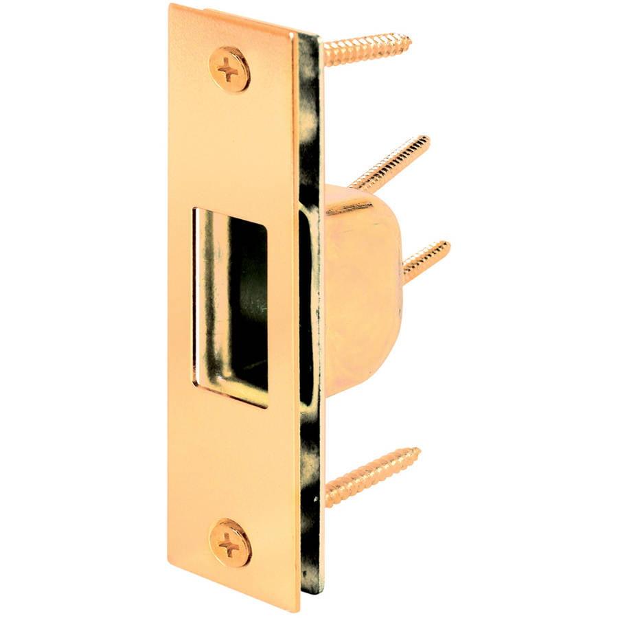 "Prime Line U9539 4-7/8"" Brass Plated Steel Box Strike Plate"