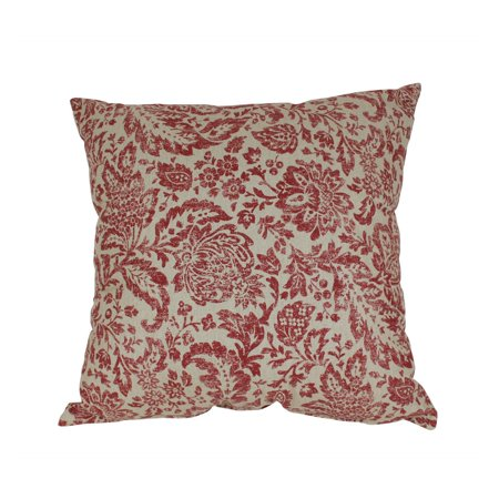 Pillow Perfect Decorative Red and Tan Damask Square Toss Pillow