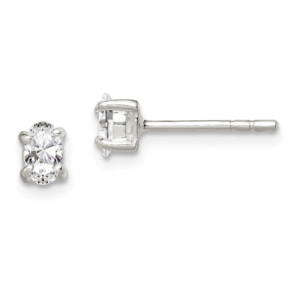 Sterling Silver 3x5mm Oval CZ Stud Earrings