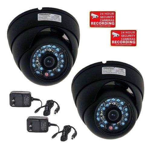 VideoSecu 2x Weatherproof Outdoor IR Night Vision Security Camera 1/3'' CCD 480TVL 3.6mm Wide Angle Lens w/ 2 Power BDG