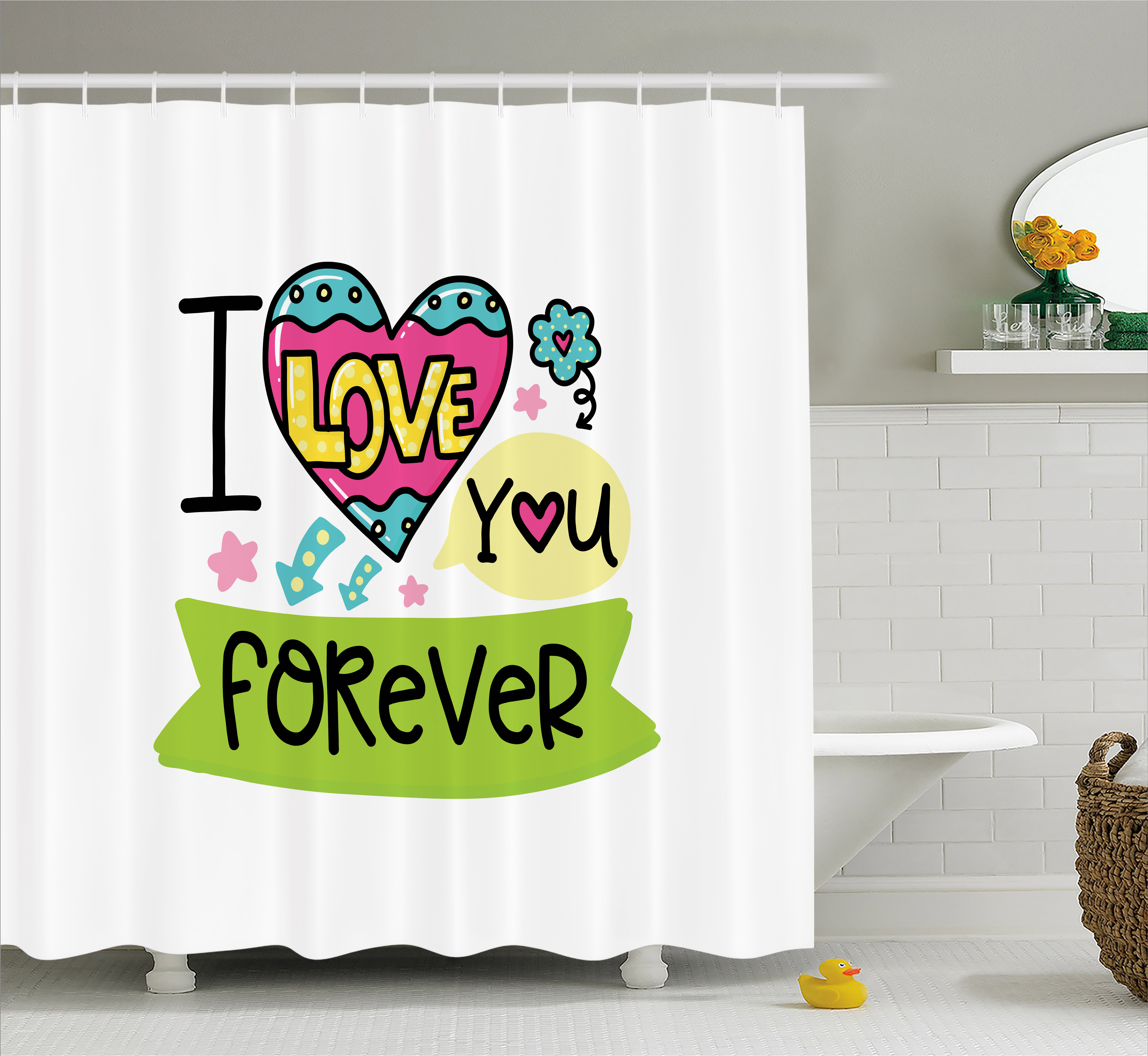 Romantic Shower Curtain, I Love Your Forever Valentines Day Theme Phrase with Childish Design Elements, Fabric Bathroom Set with Hooks, 69W X 75L Inches Long, Multicolor, by Ambesonne