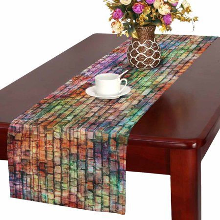 MKHERT Colorful Grunge Brick Wall Urban Art Table Runner Home Decor for Wedding Party Banquet Decoration 16x72 Inch