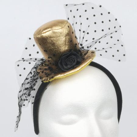 Loftus Halloween Soft Mini Top Hat w Veil Rose Headband, Gold Black, One-Size - Halloween Mini Rolls
