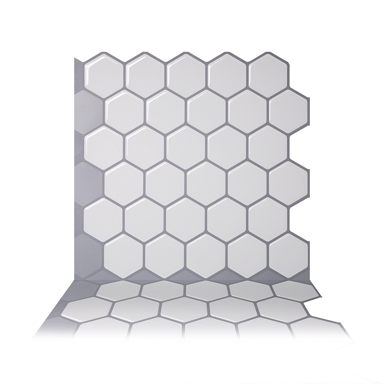 Tic Tac Tiles - Premium Anti Mold Peel and Stick Wall Tile Backsplash in Hexa Mono White
