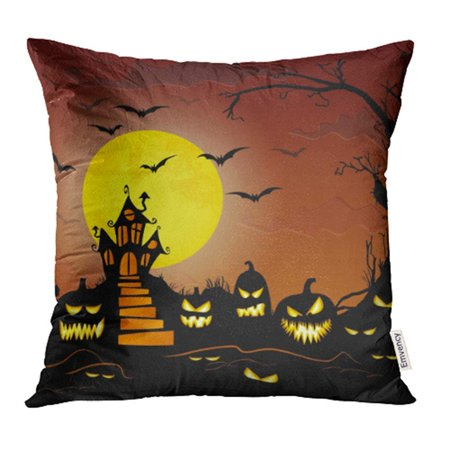 ARHOME Orange Dark Castle in Front of Full Moon with Scary for Halloween Layouts Bat Pillow Case Pillow Cover 20x20 inch Throw Pillow Covers (Halloween Tumblr Layouts)