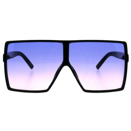 Rectangular Body Shield (Oversize Shield Rectangular Robotic Futuristic Flat Top Mob Sunglasses Black Blue)