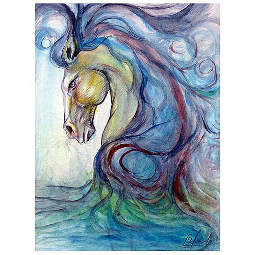 "Trademark Fine Art ""Caballo Azul"" Canvas Art"
