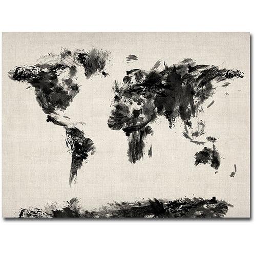"Trademark Art ""Abstract Map of the World"" Canvas Wall Art by Michael Tompsett"