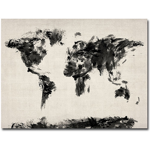 "Trademark Art ""Abstract Map of the World"" Canvas Wall Art by Michael Tompsett"