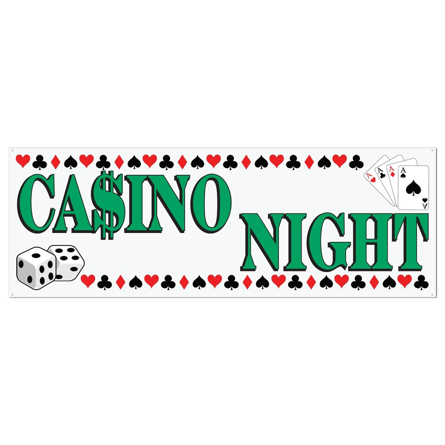 "Pack of 12 White and Green ""Casino Night"" Sign Banner Decorations 5' x 21"""