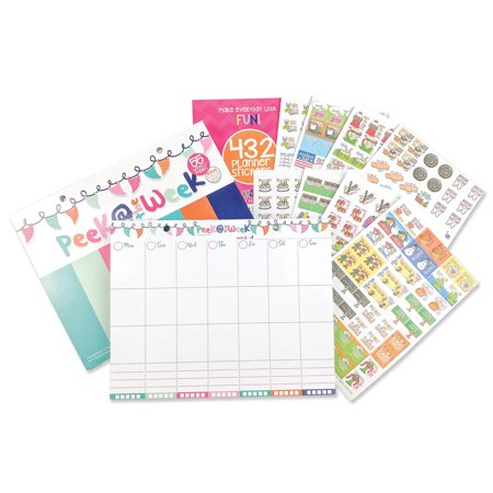 Weekly Planner Pad Bundle + Event Stickers Variety Sets (Total of 432 Stickers) Daily Vertical Layout, Tear Off To Do Lists, 8
