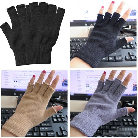 Hots Women Men Soft Half Finger Gloves Winter Warmer Knitted Mittens Fingerless Black Gray Beige ()
