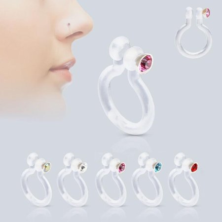 Bio-Flex Fake Non-Piercing Nose Ring with CZ - 5 Colors Available Blue Diamond Nose Ring