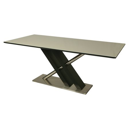 Pastel Charlize Rectangular Glass Top Dining Table In Stainless