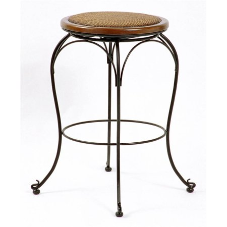 Backless Swivel Stool with Cane Seat (24 in.)