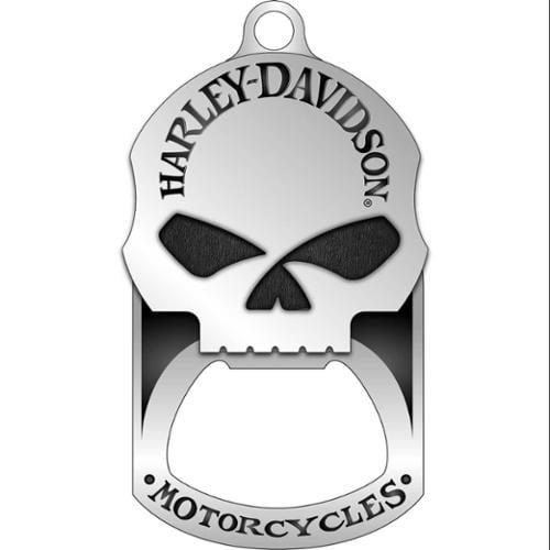 harley-davidson willie g. skull bottle opener dog tag necklace