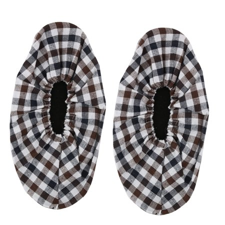 Household Cotton Blends Grid Pattern Floor Cleaning Shoes Cover Multicolor Pair Grids Pattern Cotton Blends