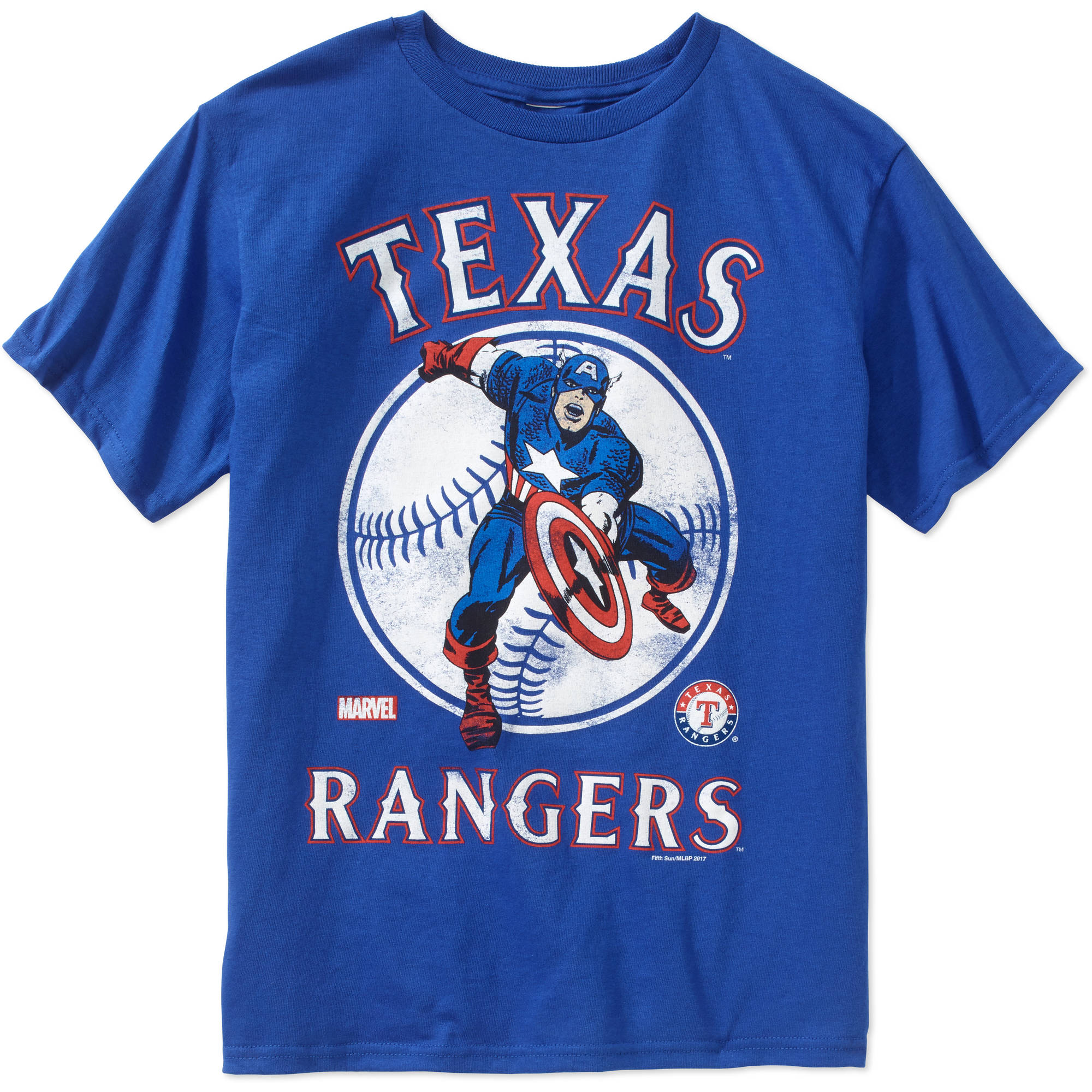 MLB Texas Rangers Boys Marvel Captain America Tee