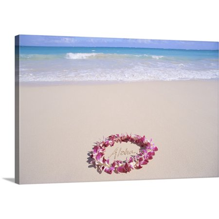 Great BIG Canvas | Mary Van de Ven Premium Thick-Wrap Canvas entitled Hawaii, Purple Orchid Lei, Aloha Written In The
