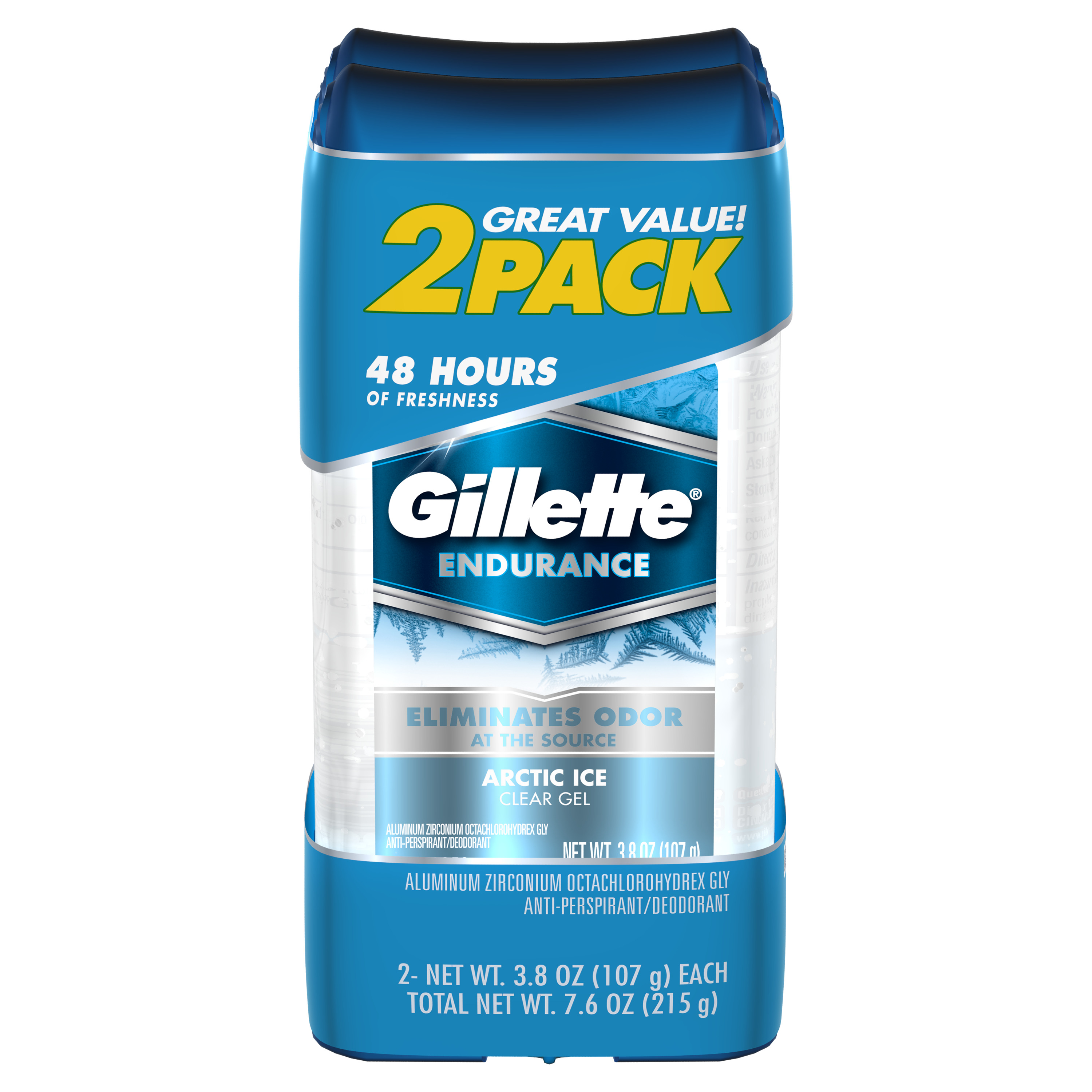 Gillette Clear Gel Arctic Ice Antiperspirant and Deodorant Twin Pack, 3.8 oz