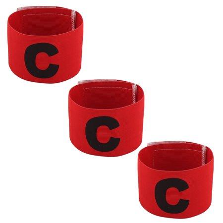 Stretchy C Print Team Soccer Sports Match Captain Armband Badge Black Red 3 Pcs