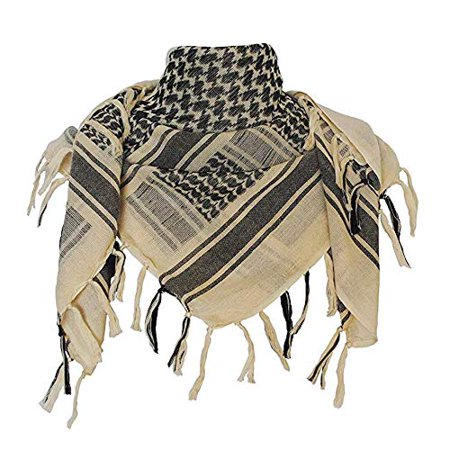 Cotton Neck Scarf (Acme Approved 100% Cotton Military Shemagh Tactical Desert Keffiyeh Head Neck Scarf Arab Wrap For Men and Women (Tan/Black) )