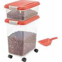 IRIS 3-Piece Airtight Pet Food Container Combo, Red