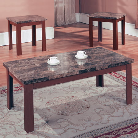 Home Source Brown Marble Coffee Table Set