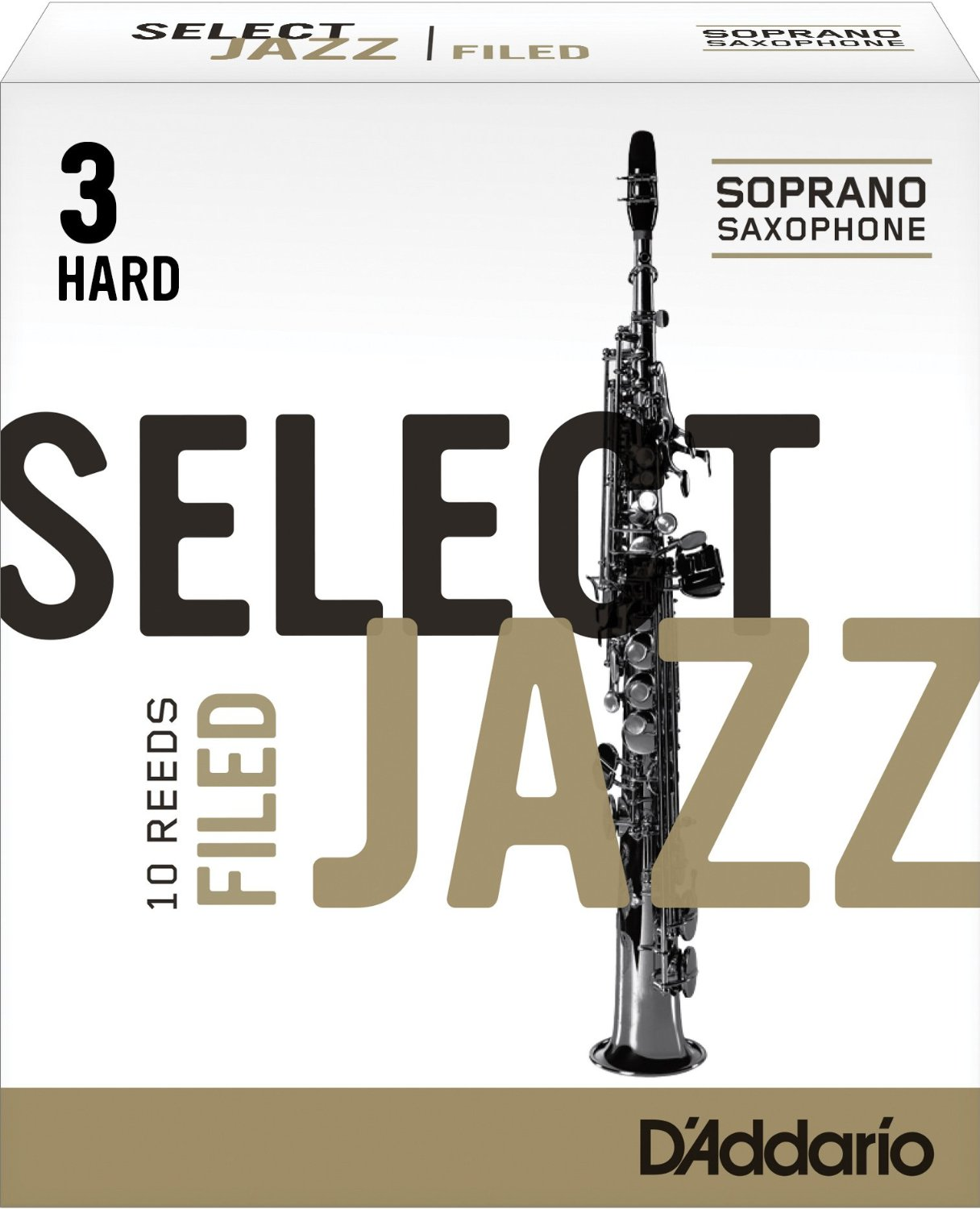 Rico Select Jazz Soprano Sax Reeds, Filed Strength 3 Hard, 10-Pack by Rico