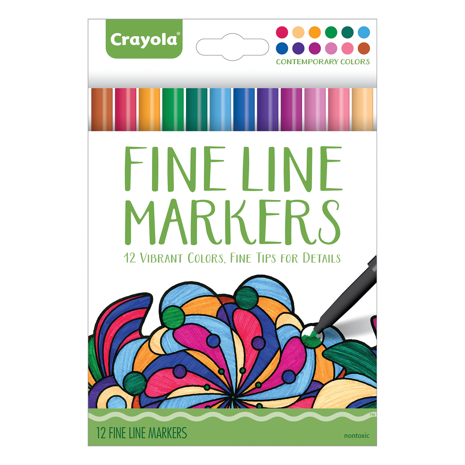 Crayola Aged Up Coloring Fineline Marker Set, 12-Colors, Rich Colors