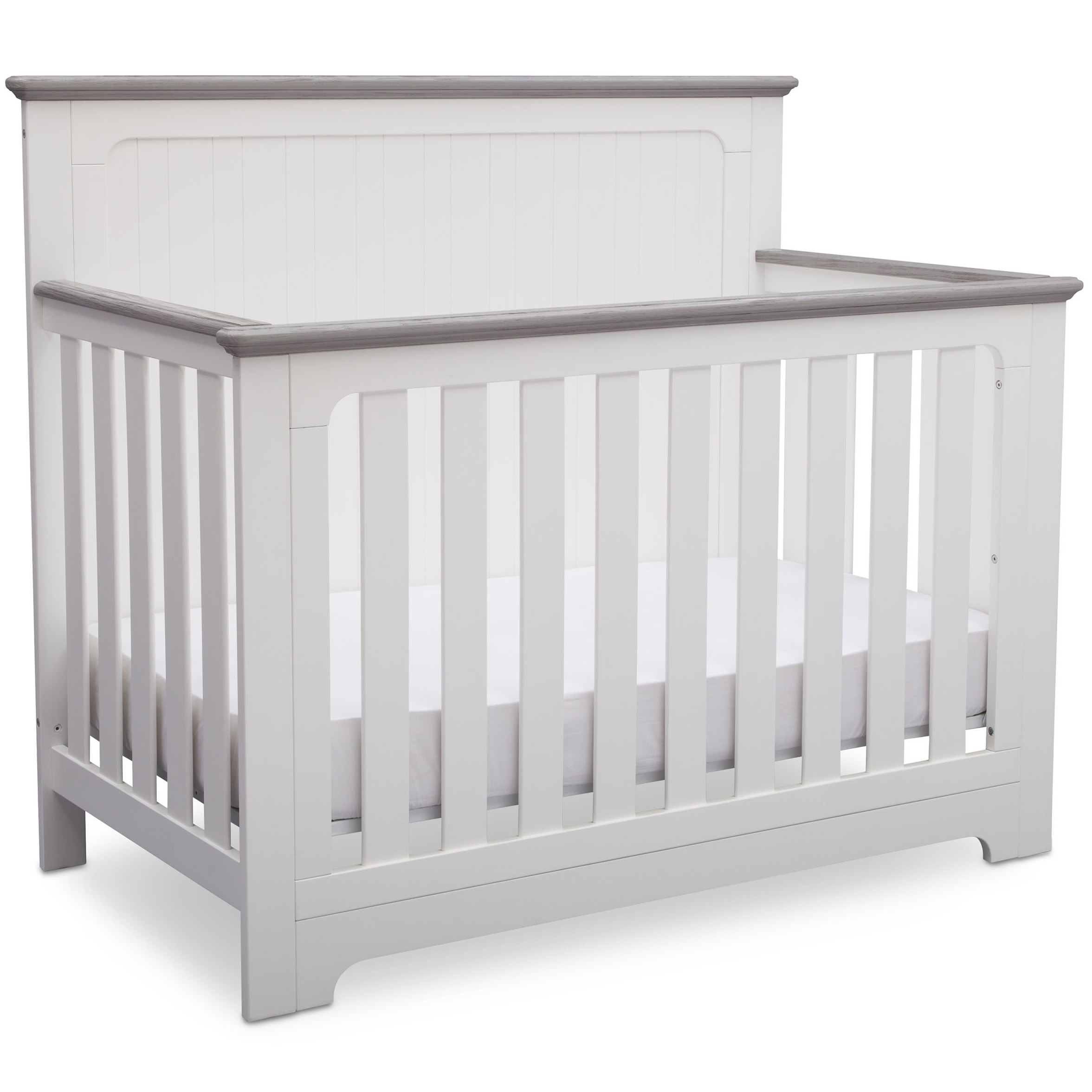 Delta Children Providence 4-in-1 Convertible Crib, Bianca White with Rustic Haze