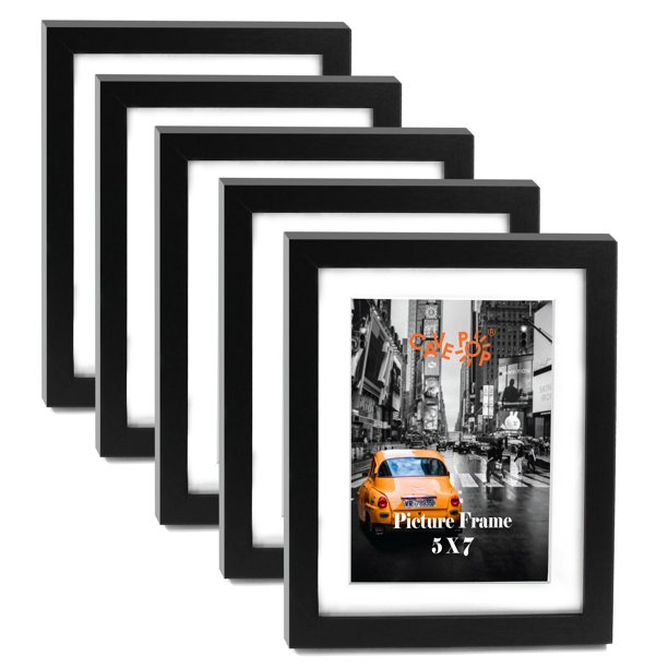 Cavepop 5x7 Black Wooden Picture Frame Set of 5