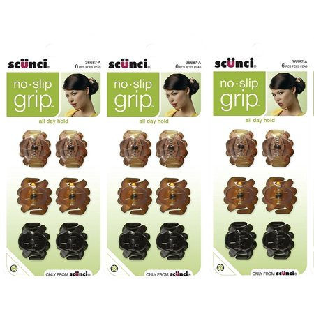 No Slip Octopus Jaw Clips, 18 ct, Mini, 2.5 cm, No-Slip Grip won't slide out of your hair By Scunci ()
