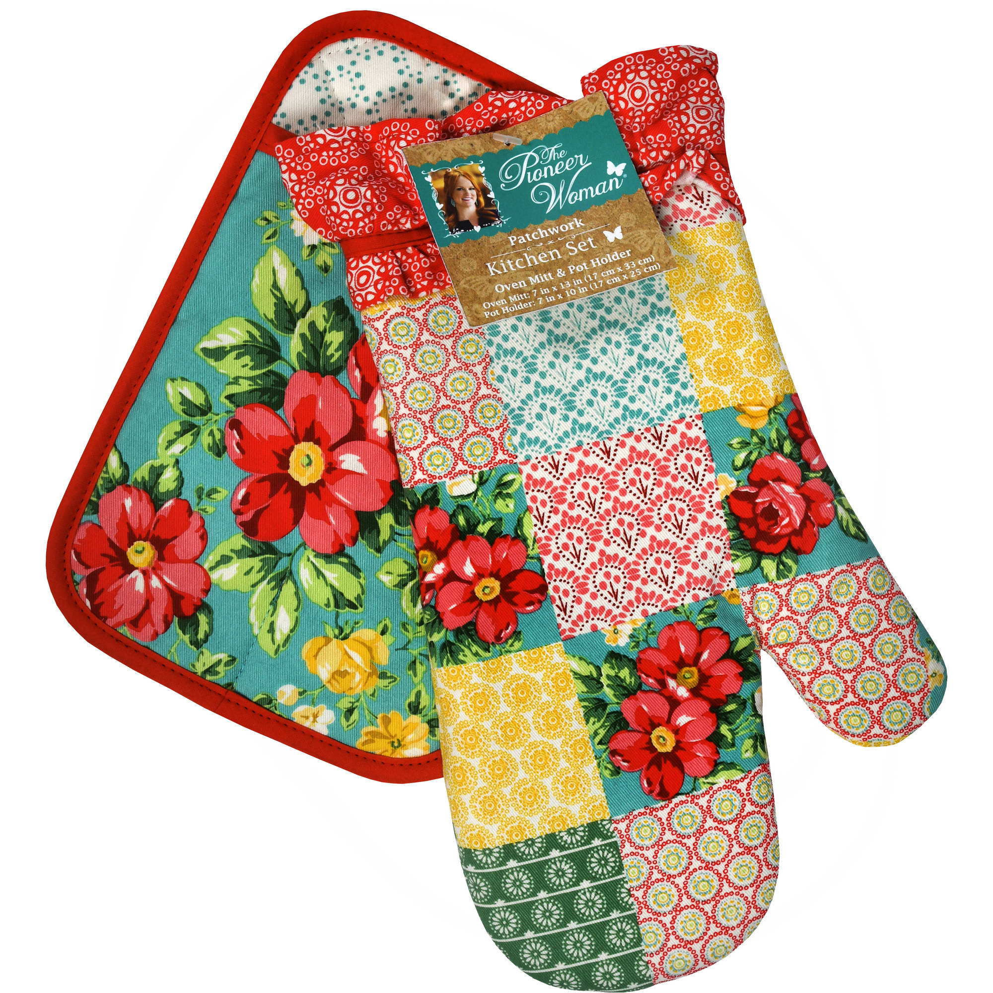 The Pioneer Woman, Patchwork 2 pack oven mitt, pot holder set