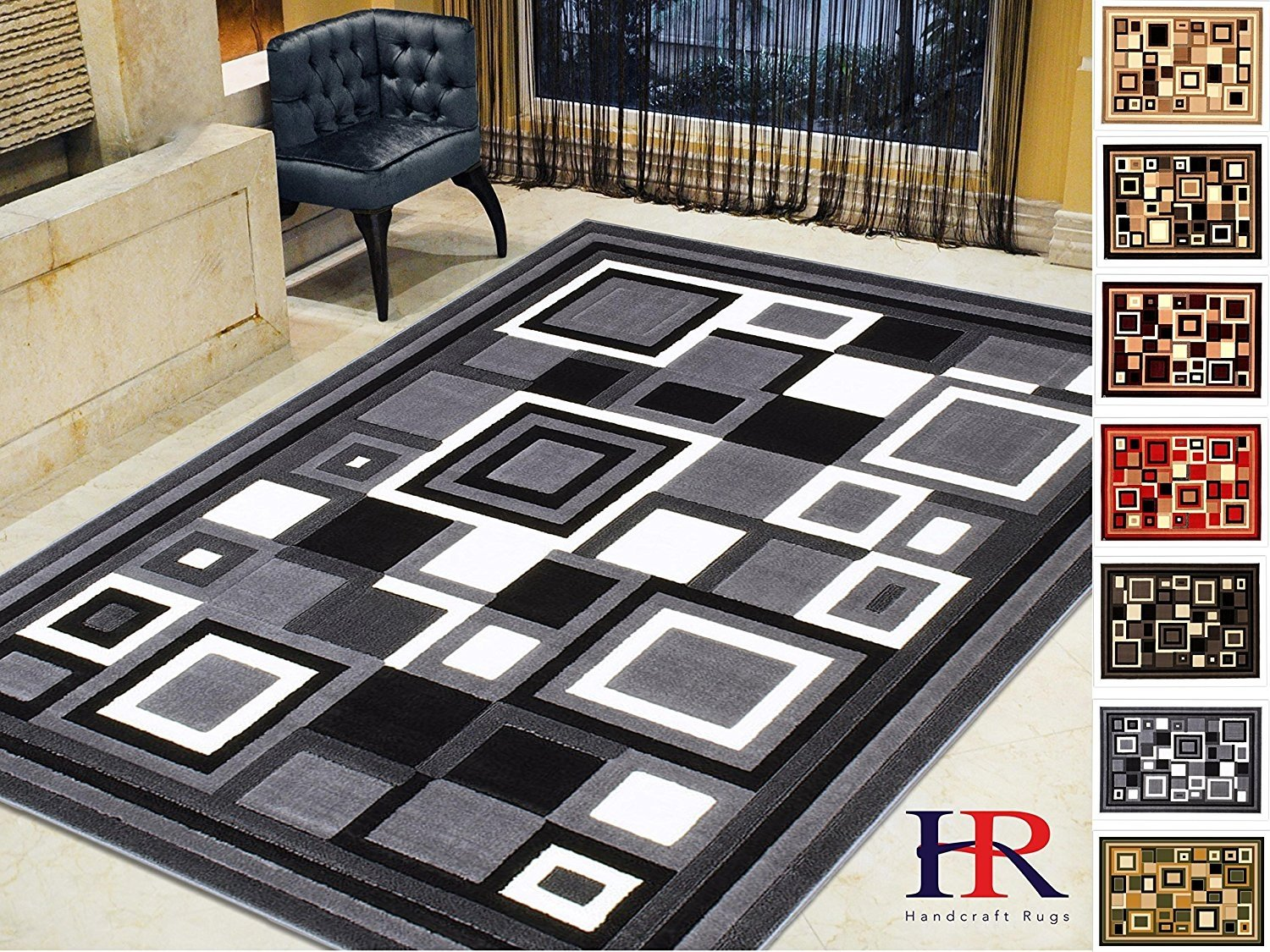 Picture of: Handcraft Rugs Modern Contemporary Living Room Rugs Abstract Carpet With Geometric Pattern Gray Black White Ivory 5×7 Feet Walmart Com Walmart Com