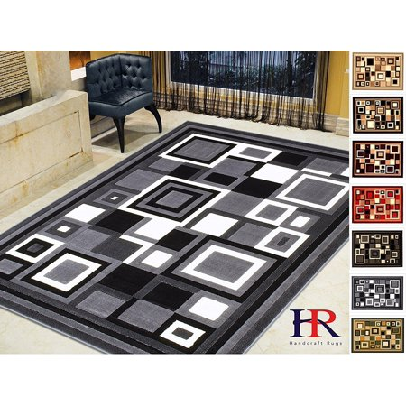 Handcraft Rugs-Modern Contemporary Living Room Rugs-Abstract Carpet with Geometric Pattern-Gray/Black/White/Ivory (5x7 feet)