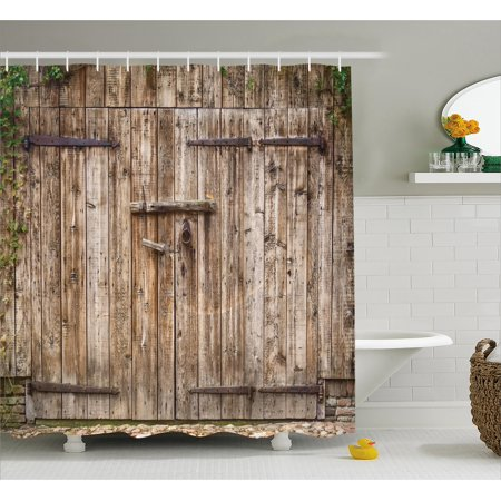 Rustic Shower Curtain, Old Oak Closed Garage Door with Steel Hinges Vintage Typical Cottage Doorway Image, Fabric Bathroom Set with Hooks, 69W X 70L Inches, Tortilla, by Ambesonne