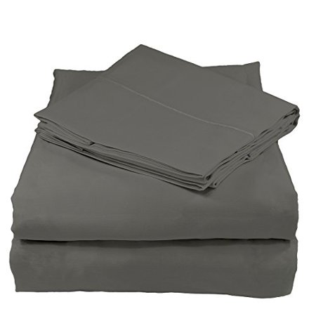 Organic Cotton Sheets Set by Whisper Organic- GOTS Certified, 400 Thread Count, Sateen , (King, Dark Grey) Organic 400 Thread