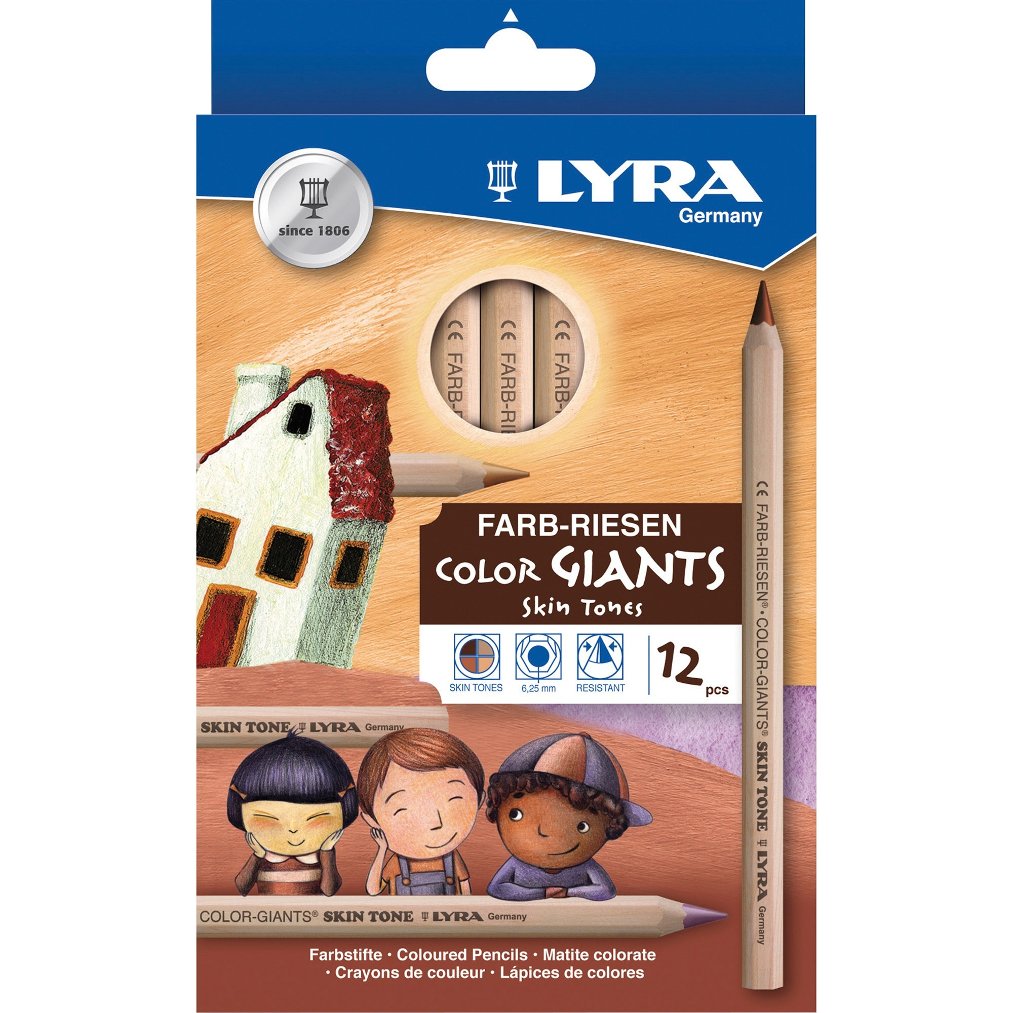 Lyra, DIX3931124, Color-Giants Skin Tone Colored Pencils, 12 / Set