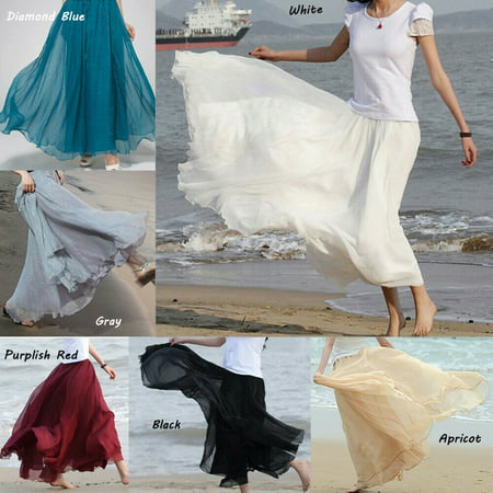 Fashion Women Chiffon Long Skirts Lady Summer Boho Beach Skirts Women Ankle-Length Solid Swing Skirts Women Plain Beach