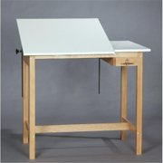 SMI M3648-37STA Medium Oak Finish Split-Top 12 in. Fixed Drafting Table, 36 X 48 in.