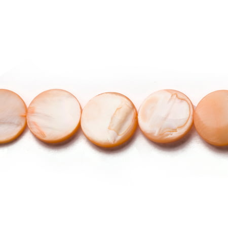 Apricot Mother-Of-Pearl Round Plate Shell Beads -
