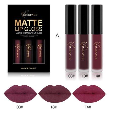 (DZT1968 3PCS New Fashion Waterproof Matte Liquid Lipstick Cosmetic Sexy Lip Gloss Kit)