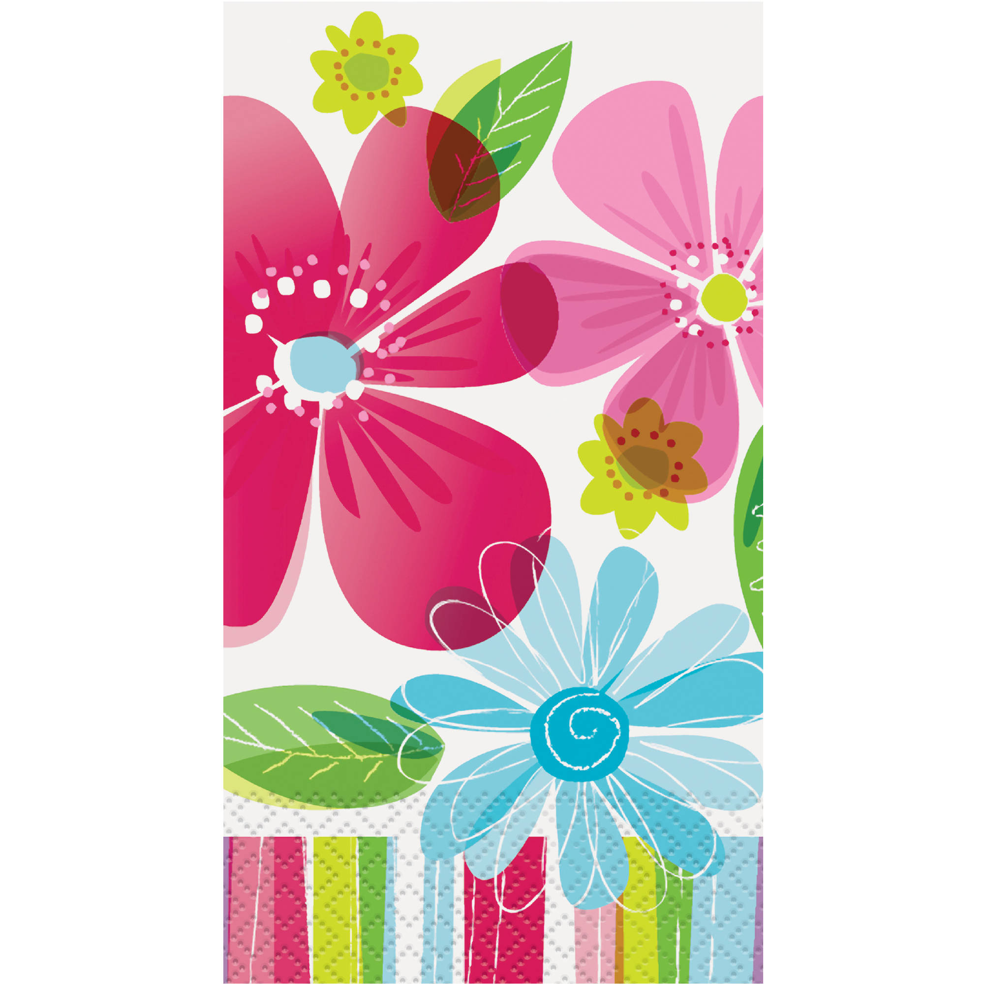 Striped Spring Flowers Guest Napkins, 16ct