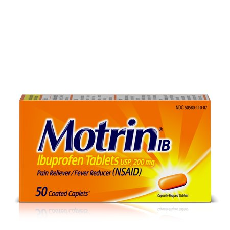 Motrin IB, Ibuprofen 200mg Tablets for Pain & Fever Relief, 50